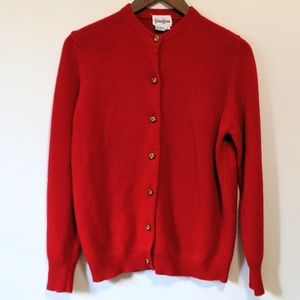 Neiman Marcus Cashmere Red Front Button Sweater